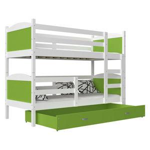 ArtAJ Detská poschodová posteľ MATEUSZ MDF / 200 x 90 cm Farba: biela / zelená 200 x 90 cm