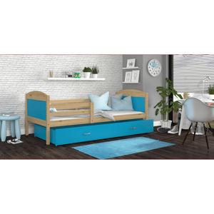 ArtAJ Detská posteľ MATEUSZ P drevo / MDF 200 x 90 cm Farba: Borovica / modrá 200 x 90 cm