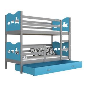 ArtAJ Detská poschodová posteľ MAX / MDF 200 x 90 cm Farba: sivá / modrá 200 x 90 cm