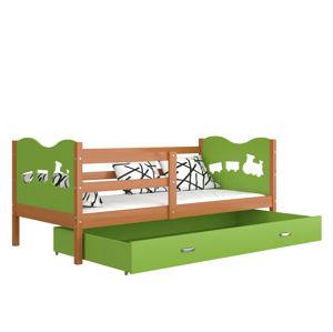 ArtAJ Detská posteľ MAX P drevo / MDF 160 x 80 cm Farba: jelša / zelená 160 x 80 cm, Prevedenie: bez matraca