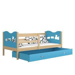 ArtAJ Detská posteľ MAX P drevo / MDF 200 x 90 cm Farba: Borovica / modrá 200 x 90 cm