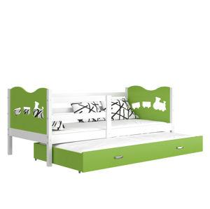 ArtAJ Detská posteľ MAX P2 / MDF 200 x 90 cm Farba: biela / zelená 200 x 90 cm, Prevedenie: bez matraca