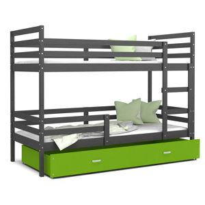 ArtAJ Detská poschodová posteľ JACEK | 190 x 80 Farba: Sivá / zelená, Prevedenie: s matracom, Rozmer, materiál: MDF