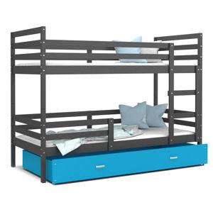 ArtAJ Detská poschodová posteľ JACEK   190 x 80 Farba: Sivá / Modrá, Prevedenie: bez matraca, Rozmer, materiál: MDF