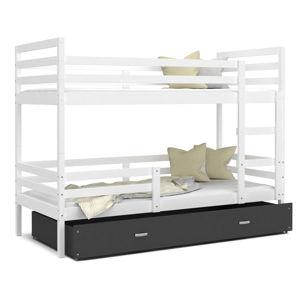 ArtAJ Detská poschodová posteľ JACEK   200 x 90 Farba: biela / sivá, Prevedenie: bez matraca, Rozmer, materiál: MDF