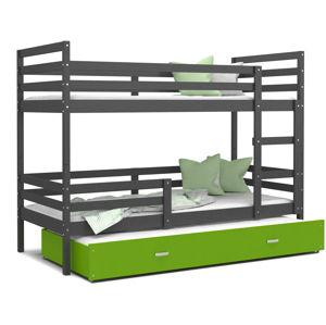 ArtAJ Detská poschodová posteľ JACEK 3 | 200 x 90 Farba: Sivá / zelená, Prevedenie: bez matraca, Rozmer, materiál: MDF