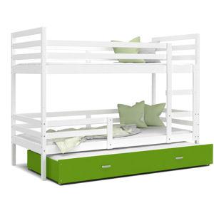 ArtAJ Detská poschodová posteľ JACEK 3 | 200 x 90 Farba: biela / zelená, Prevedenie: bez matraca, Rozmer, materiál: MDF