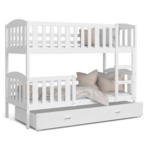 ArtAJ Detská poschodová posteľ KUBUŠ   200 x 90 cm Farba: Biela / biela, Prevedenie: bez matraca, Rozmer, materiál: MDF