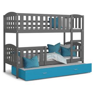 ArtAJ Detská poschodová posteľ KUBUŠ 3   200 x 90 cm Farba: Sivá / Modrá, Prevedenie: s matracom, Rozmer, materiál: MDF