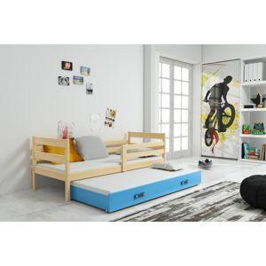 BMS Detská posteľ s prístelkou ERYK 2 | borovica Farba: Borovica / modrá, Rozmer.: 200 x 90 cm