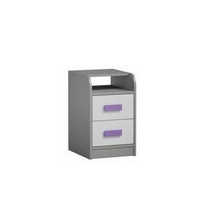 TEMPO KONDELA Kontajner k PC stolu, sivá/biela/fialová, PIERE P09