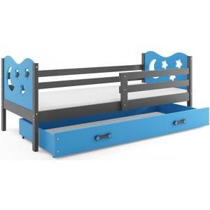 BMS Detská posteľ Miko / sivá Farba: Sivá / Modrá, Rozmer.: 190 x 80 cm