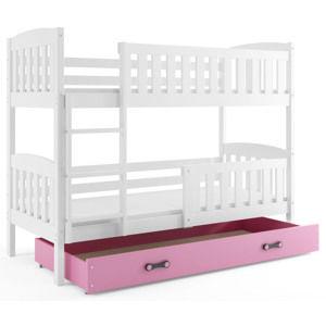 BMS Detská poschodová posteľ KUBUŠ / BIELA Farba: biela / ružová, Rozmer.: 190 x 80 cm