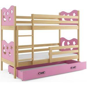 BMS Poschodová detská posteľ Miko /borovica Farba: Ružová, Rozmer.: 190 x 80 cm