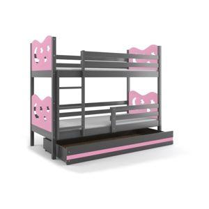BMS Poschodová detská posteľ Miko / Sivá Farba: Sivá / ružová, Rozmer.: 190 x 80 cm