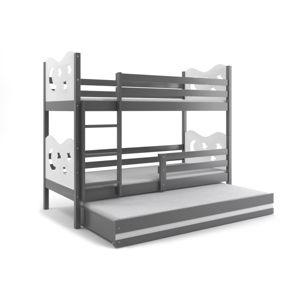 BMS Poschodová detská posteľ Miko s prístelkou / Sivá Farba: Biela, Rozmer.: 200 x 90 cm