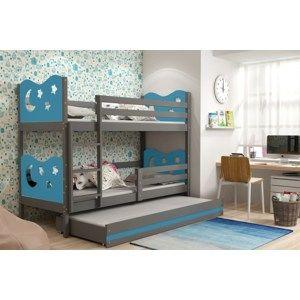 BMS Poschodová detská posteľ Miko s prístelkou / Sivá Farba: Modrá, Rozmer.: 200 x 90 cm