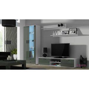 Artcam Obývacia stena Soho 8 biela/ sivý lesk