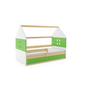 BMS Detská posteľ domček DOMI 1 borovica s úložným priestorom Farba: Borovica / zelená