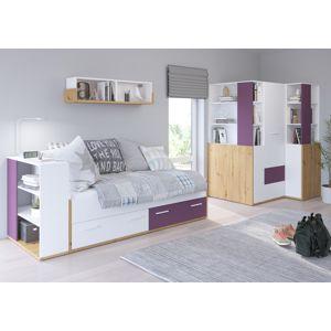 WIP Detská izba HEY 4 Farba: Dub artisan/biela/fialová