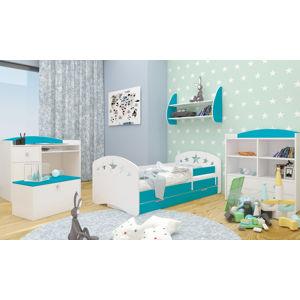 Happy Babies Detská posteľ Happy dizajn/hviezdičky Farba: Modrá, Rozmer.: 160 x 80 cm