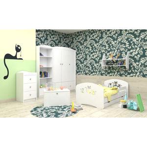 Happy Babies Detská posteľ Happy dizajn/mačičky Farba: Biela, Rozmer.: 160 x 80 cm
