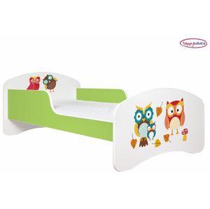 Happy Babies Detská posteľ ANIMALS zelená 160x80 cm Prevedenie: Bez zásuvky, Obrázok: Sovičky s lístím