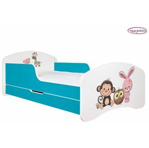 Happy Babies Detská poteľ ANIMALS modrá 160x80 cm Farba: Modrá / biela, Prevedenie: L04 / 80 x 160 cm /S úložným priestorom, Obrázok: AM05