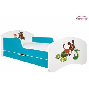 Happy Babies Detská poteľ ANIMALS modrá 160x80 cm Prevedenie: So zásuvkou, Obrázok: Zvieratká 2