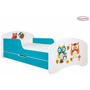 Happy Babies Detská poteľ ANIMALS modrá 180x90 cm Prevedenie: So zásuvkou, Obrázok: Sovičky s lístím
