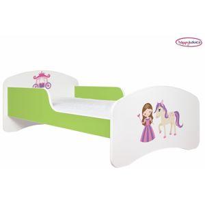 Happy Babies Detská poteľ ANIMALS zelená 180x90 cm Prevedenie: Bez zásuvky, Obrázok: Princezná s koníkom