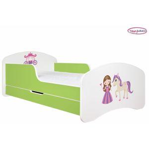 Happy Babies Detská poteľ ANIMALS zelená 180x90 cm Prevedenie: So zásuvkou, Obrázok: Princezná s koníkom