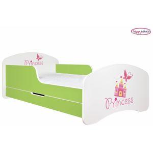 Happy Babies Detská poteľ ANIMALS zelená 180x90 cm Prevedenie: So zásuvkou, Obrázok: Princess