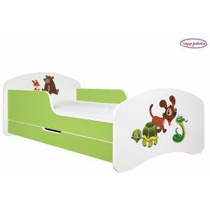Happy Babies Detská poteľ ANIMALS zelená 180x90 cm Prevedenie: So zásuvkou, Obrázok: Zvieratká 2