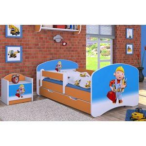 Happy Babies Detská posteľ HAPPY/Bob staviteľ Farba: Oranžová, Prevedenie: s úložným priestorom, Rozmer.: 180 x 90 cm