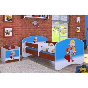 Happy Babies Detská posteľ HAPPY/Bob staviteľ Farba: Gaštan Wenge, Prevedenie: bez úložného priestoru, Rozmer.: 180 x 90 cm
