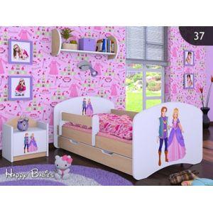 Happy Babies Detská posteľ HAPPY/ 37 Princ a princezná 160 x 80 cm Farba: Hruška / Biela, Prevedenie: L04 / 80 x 160 cm /S úložným priestorom