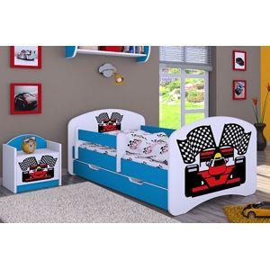 Happy Babies Detská posteľ HAPPY/ 88 Formuľa 160 x 80 cm Farba: Modrá / biela, Prevedenie: L04 / 80 x 160 cm /S úložným priestorom