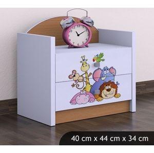 Happy Babies Nočný stolík HAPPY/Safari Farba: Buk, Prevedenie: Dve zásuvky