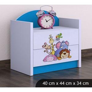 Happy Babies Nočný stolík HAPPY/Safari Farba: Modrá, Prevedenie: Dve zásuvky