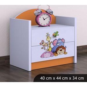 Happy Babies Nočný stolík HAPPY/Safari Farba: Oranžová, Prevedenie: Dve zásuvky