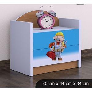 Happy Babies Nočný stolík HAPPY/Bob staviteľ Farba: Buk, Prevedenie: Dve zásuvky
