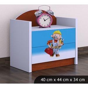 Happy Babies Nočný stolík HAPPY/Bob staviteľ Farba: Gaštan Wenge, Prevedenie: Dve zásuvky