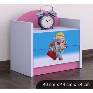 Happy Babies Nočný stolík HAPPY/Bob staviteľ Farba: Ružová, Prevedenie: Dve zásuvky