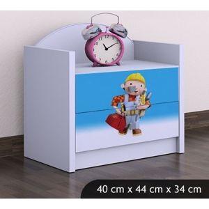Happy Babies Nočný stolík HAPPY/Bob staviteľ Farba: Biela, Prevedenie: Dve zásuvky