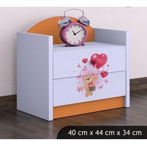 Happy Babies Nočný stolík HAPPY/Zamilovaný macko Farba: Oranžová, Prevedenie: Dve zásuvky