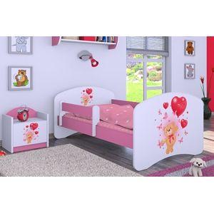 Happy Babies Detská posteľ HAPPY/ 08 Zamilovaný macko 180 x 90 cm Farba: Ružová / Biela, Prevedenie: L05 / 90 x 180 cm / bez úložného priestoru