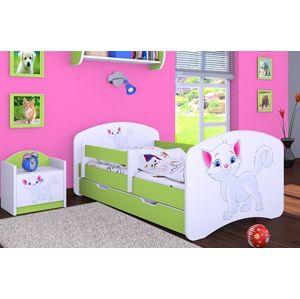 Happy Babies Detská posteľ HAPPY/ 12 Mačička 180 x 90 cm Farba: Zelená / Biela, Prevedenie: L06 / 90 x 180 cm / S úložným priestorom