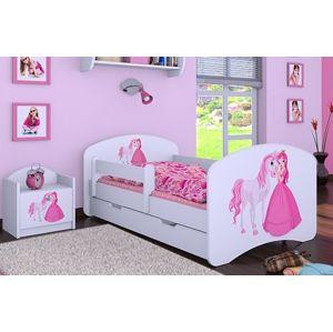 Happy Babies Detská posteľ HAPPY/ 09 Princezná s koníkom 180 x 90 cm Farba: Biela / biela, Prevedenie: L06 / 90 x 180 cm / S úložným priestorom