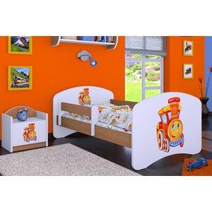 Happy Babies Detská posteľ HAPPY/ 14 Lokomotíva 180 x 90 cm Farba: Buk / Biela, Prevedenie: L05 / 90 x 180 cm / bez úložného priestoru